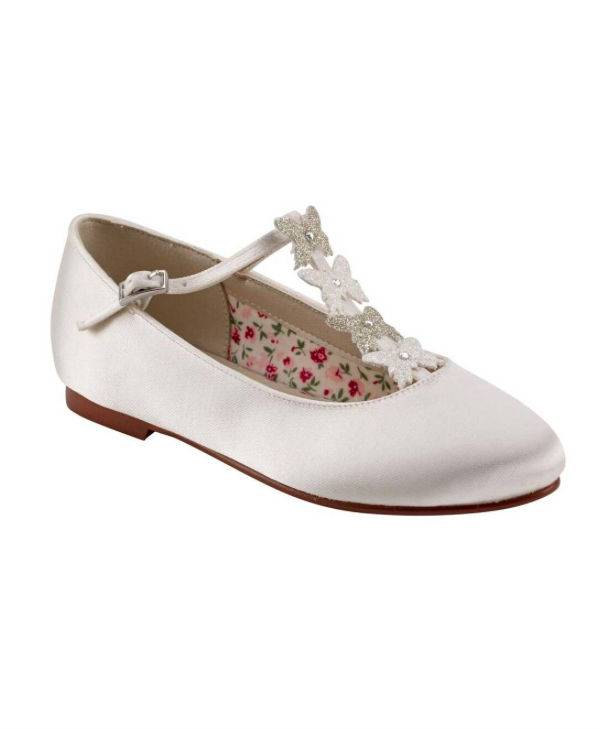 White Flower Girl Shoe
