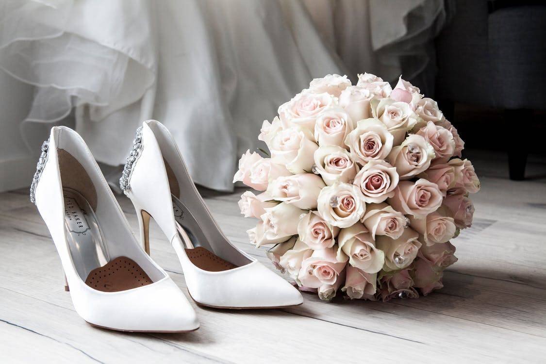 White Wedding Shoes and Bouquet