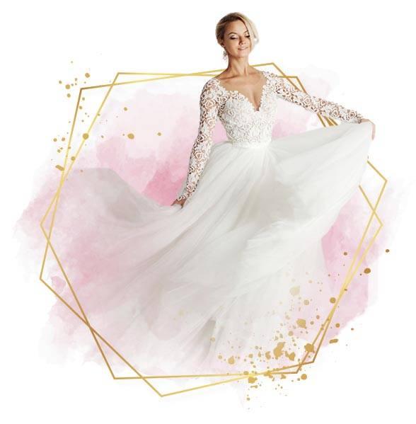 Wedding dress pink background